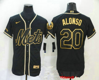 Men's New York Mets #20 Pete Alonso Black With Gold Stitched MLB Flex Base Nike Jersey