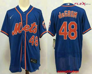 Men's New York Mets #48 Jacob deGrom Blue Stitched MLB Flex Base Nike Jersey