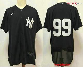 Men's New York Yankees #99 Aaron Judge Black No Name Stitched MLB Flex Base Nike Jersey