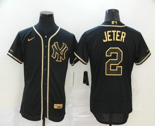 Men's New York Yankees #2 Derek Jeter Black Golden Stitched MLB Flex Base Nike Jersey