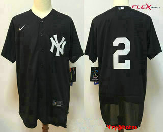 Men's New York Yankees #2 Derek Jeter Black No Name Stitched MLB Flex Base Nike Jersey
