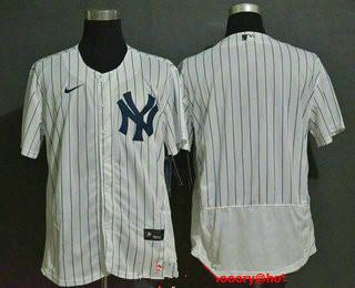 Men's New York Yankees Blank White Home Stitched MLB Flex Base Nike Jersey