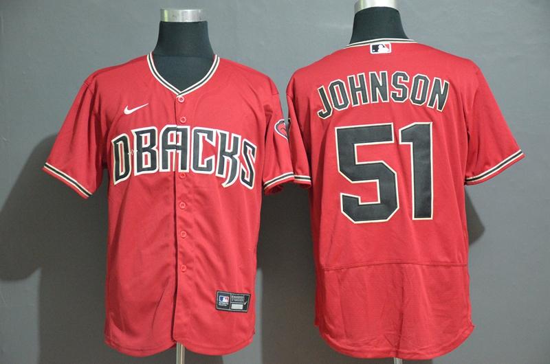 Men's Arizona Diamondbacks #51 Randy Johnson Red Stitched Nike MLB Flex Base Jersey