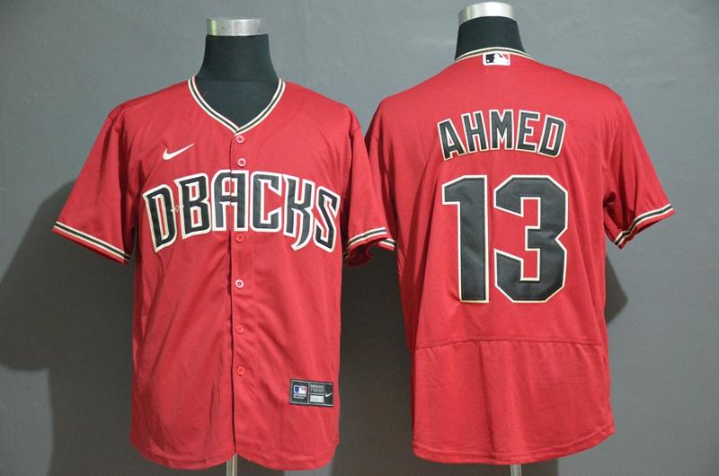 Men's Arizona Diamondback #13 Nick Ahmed Red Stitched Nike MLB Flex Base Jersey