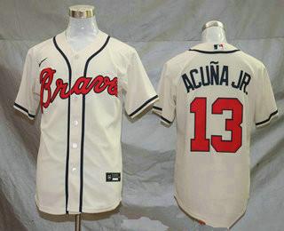 Men's Atlanta Braves #13 Ronald Acuna Jr. Cream Stitched MLB Cool Base Nike Jersey