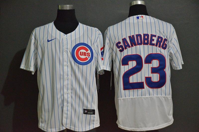 Men's Chicago Cubs #23 Ryne Sandberg White Home Stitched MLB Flex Base Nike Jersey