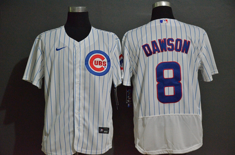 Men's Chicago Cubs #8 Andre Dawson White Home Stitched MLB Flex Base Nike Jersey