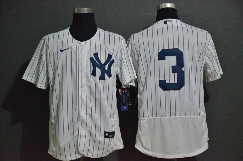 Men's New York Yankees #3 Babe Ruth White Home No Name Stitched MLB Flex Base Nike Jersey