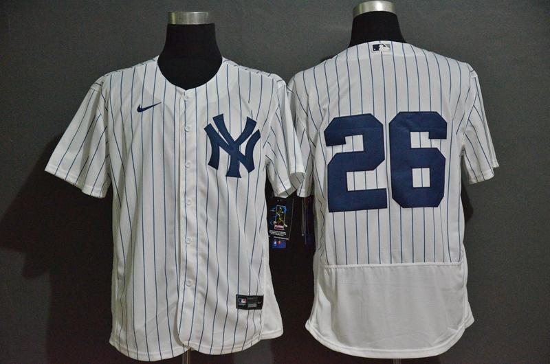 Men's New York Yankees #26 DJ LeMahieu White Home No Name Stitched MLB Flex Base Nike Jersey