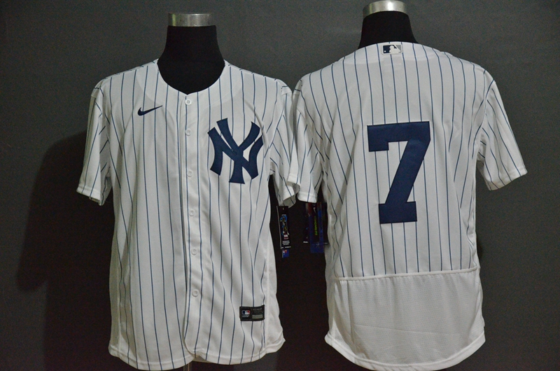 Men's New York Yankees #7 Mickey Mantle White Home No Name Stitched MLB Flex Base Nike Jersey