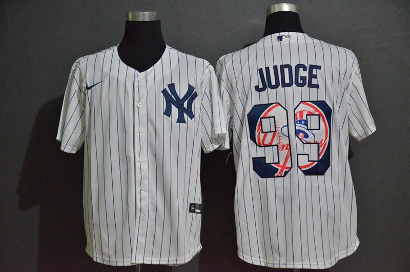 Men's New York Yankees #99 Aaron Judge White Team Logo Stitched MLB Cool Base Nike Fashion Jersey