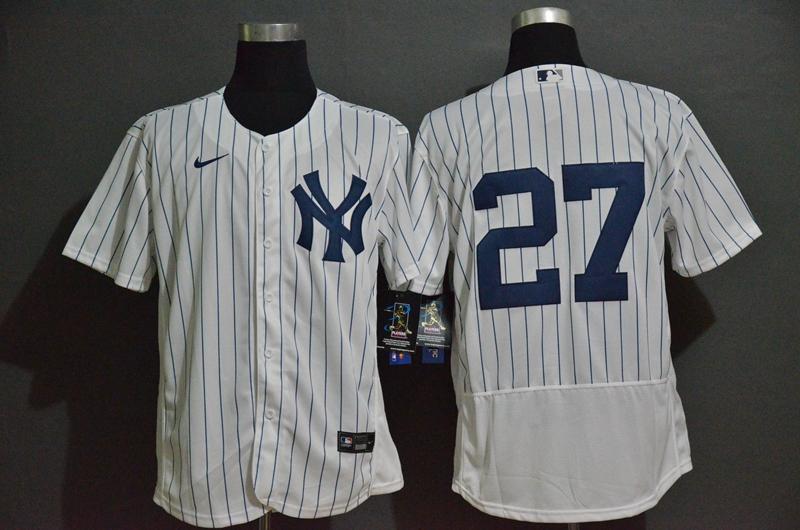 Men's New York Yankees #27 Giancarlo Stanton White Home No Name Stitched MLB Flex Base Nike Jersey