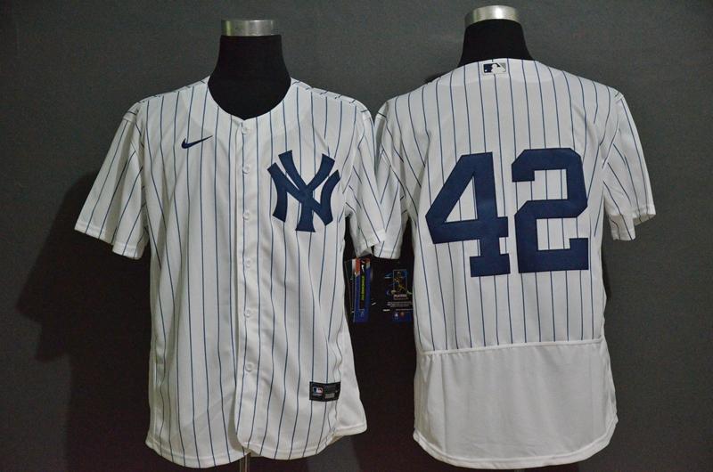 Men's New York Yankees #42 Mariano Rivera White Home No Name Stitched MLB Flex Base Nike Jersey