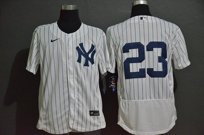 Men's New York Yankees #23 Don Mattingly White Home No Name Stitched MLB Flex Base Nike Jersey