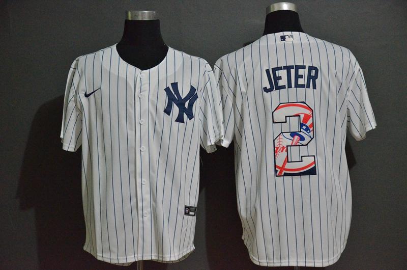 Men's New York Yankees #2 Derek Jeter White Team Logo Stitched MLB Cool Base Nike Fashion Jersey