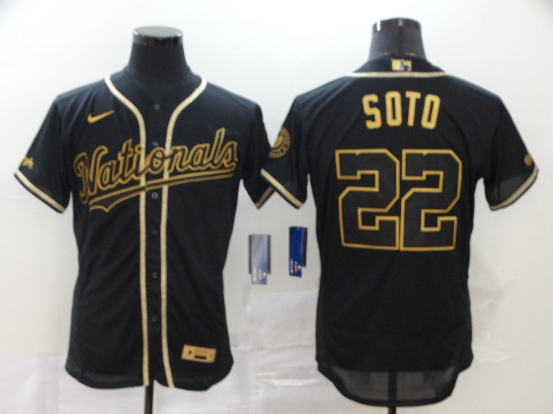 Men's Washington Nationals #22 Juan Soto Black With Gold Stitched MLB Flex Base Nike Jersey