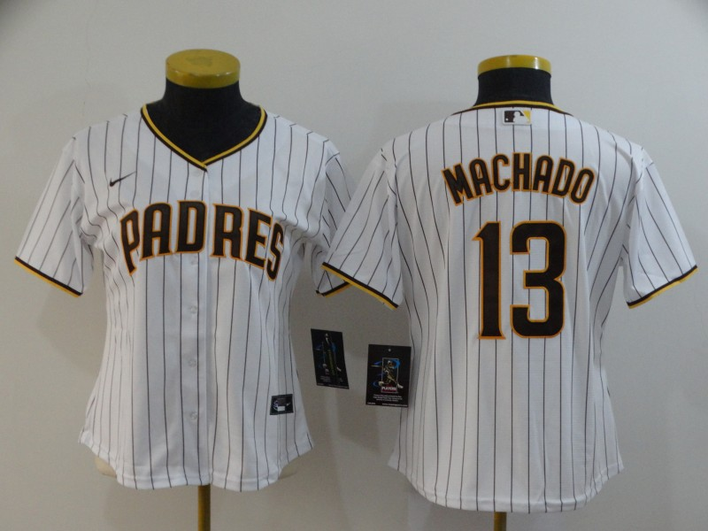 Women's San Diego Padres #13 Manny Machado White Stitched MLB Cool Base Nike Jersey