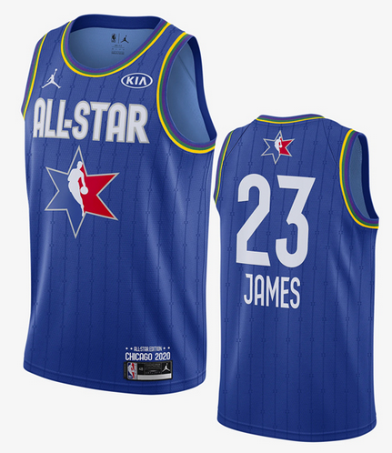 Men's Los Angeles Lakers #23 LeBron James Blue Jordan Brand 2020 All-Star Game Swingman Stitched NBA Jersey