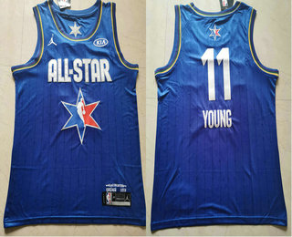 Men's Atlanta Hawks #11 Trae Young Blue Jordan Brand 2020 All-Star Game Swingman Stitched NBA Jersey