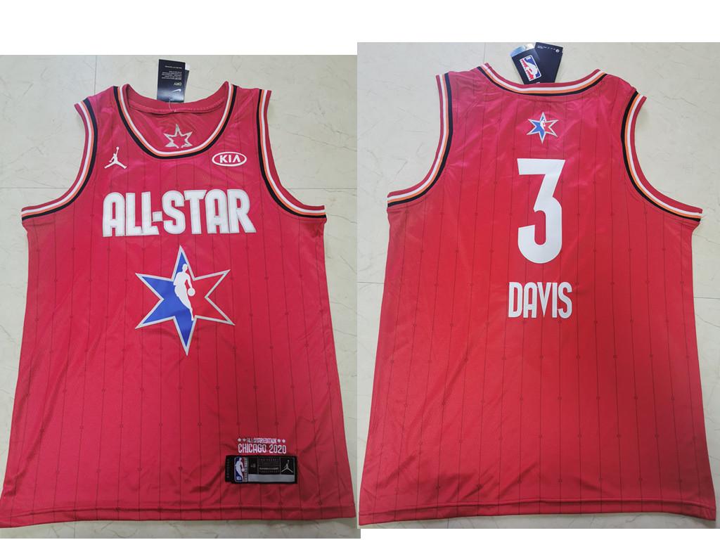 Men's Los Angeles Lakers #3 Anthony Davis Red Jordan Brand 2020 All-Star Game Swingman Stitched NBA Jersey