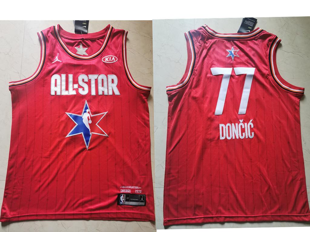 Men's Dallas Mavericks #77 Luka Doncic Red Jordan Brand 2020 All-Star Game Swingman Stitched NBA Jersey