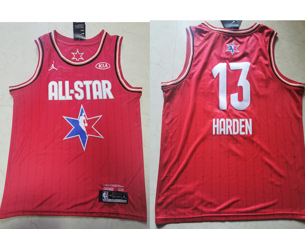 Men's Houston Rockets #13 James Harden Red Jordan Brand 2020 All-Star Game Swingman Stitched NBA Jersey