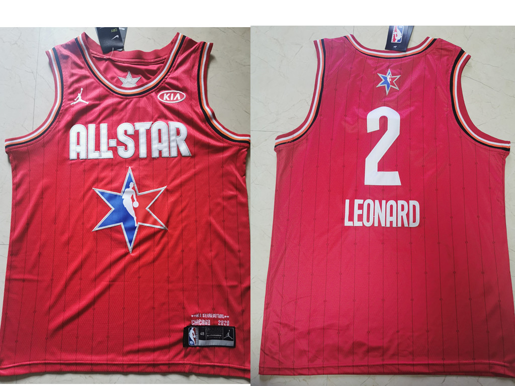Men's Los Angeles Clippers #2 Kawhi Leonard Red Jordan Brand 2020 All-Star Game Swingman Stitched NBA Jersey