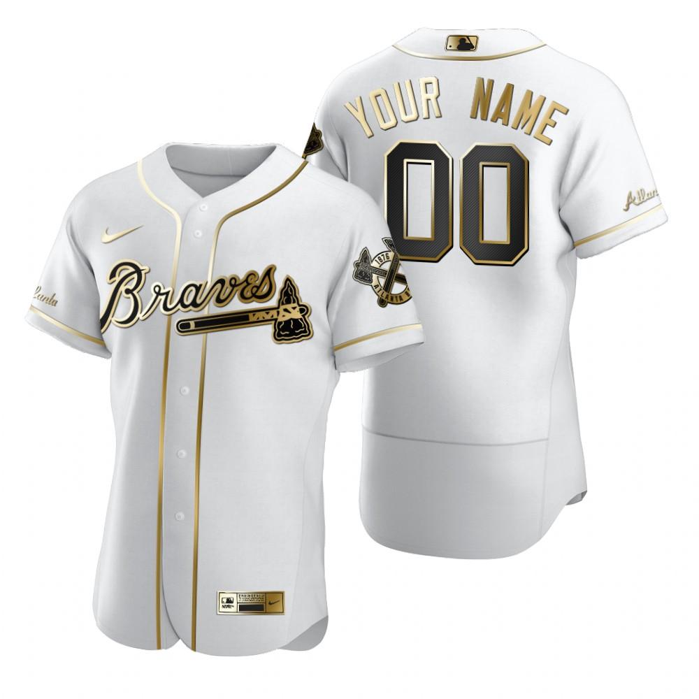 Men's Atlanta Braves Custom Nike White Stitched MLB Flex Base Golden Edition Jersey