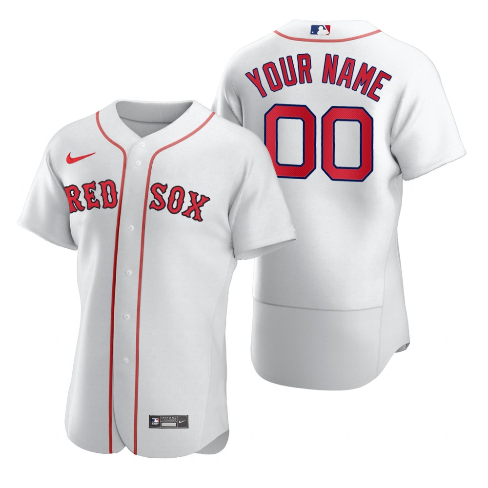 Men's Boston Red Sox Custom Nike White 2020 Stitched MLB Flex Base Jersey