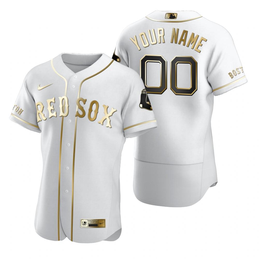 Men's Boston Red Sox Custom Nike White Stitched MLB Flex Base Edition Jersey