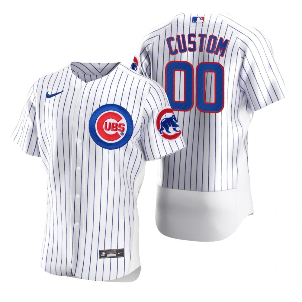 Men's Chicago Cubs Custom Nike White 2020 Stitched MLB Flex Base Jersey