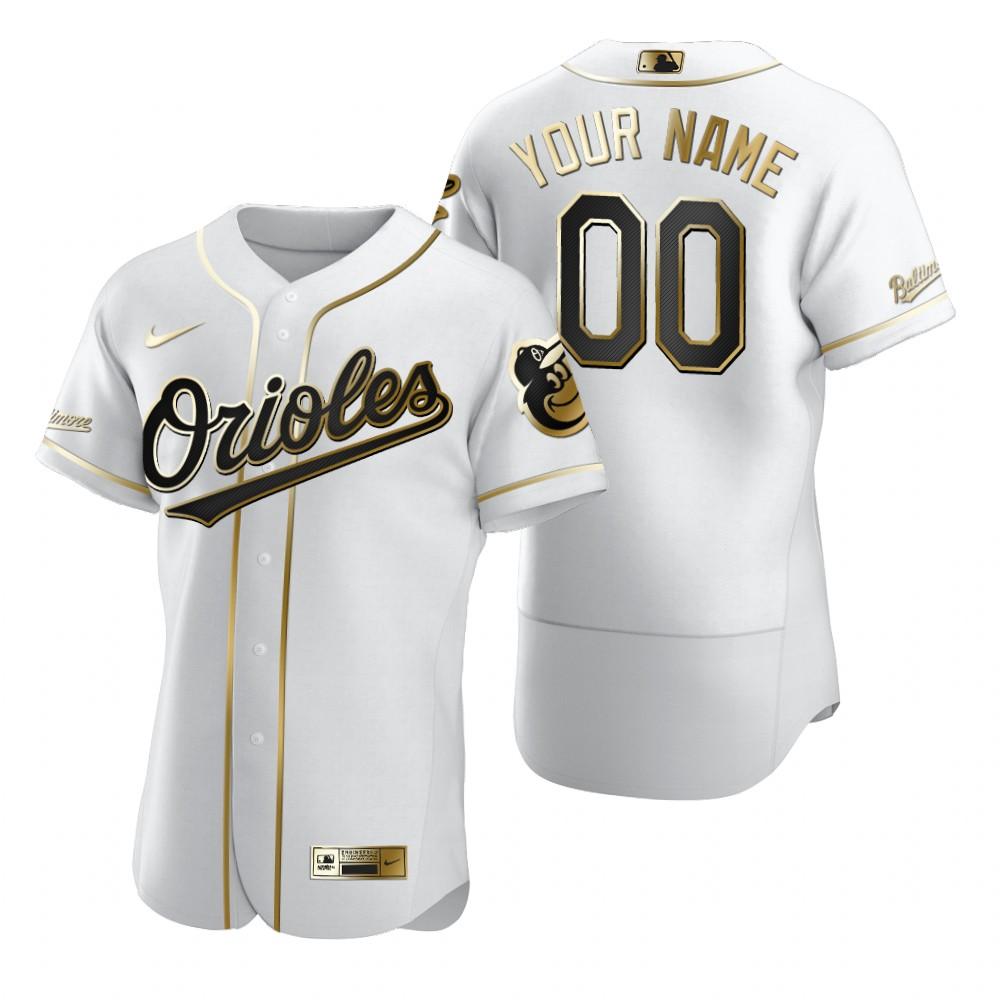 Men's Baltimore Orioles Custom Nike White Stitched MLB Flex Base Golden Edition Jersey