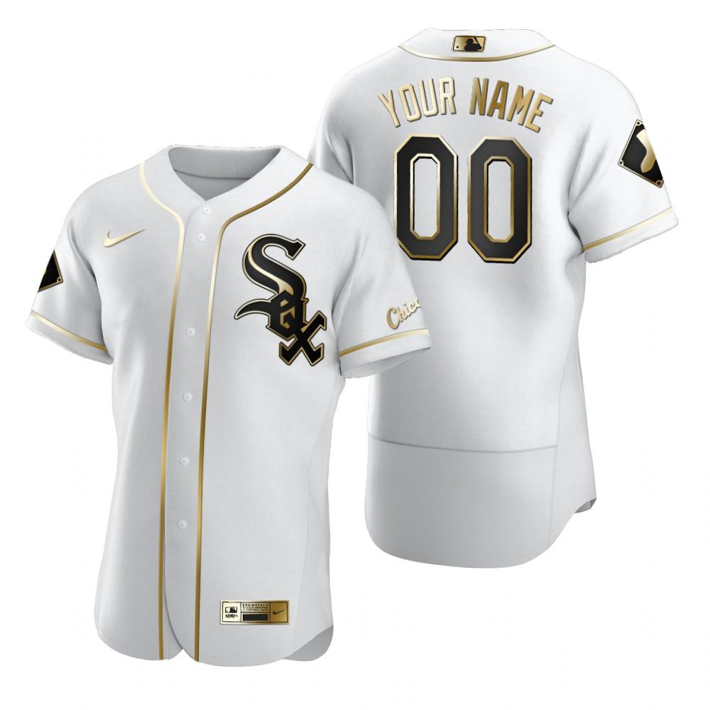 Men's Chicago White Sox Custom Nike White Stitched MLB Flex Base Golden Edition Jersey