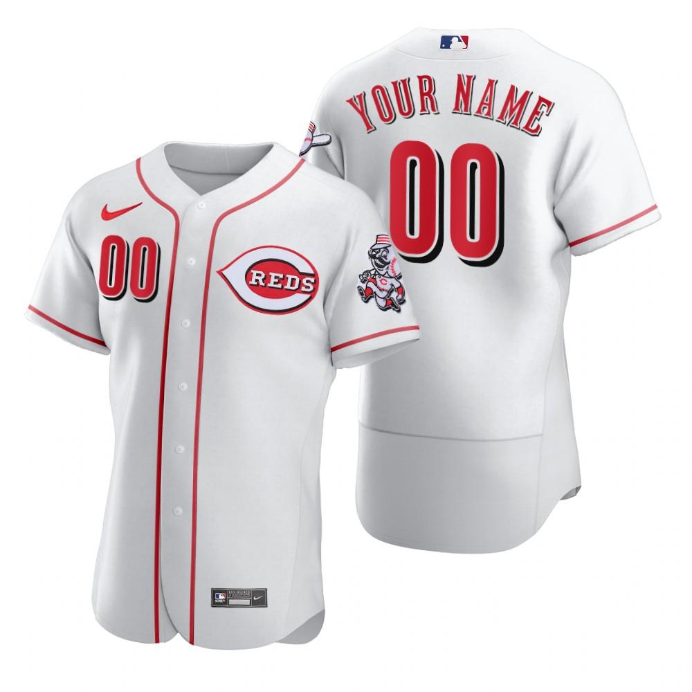 Men's Cincinnati Reds Custom Nike White 2020 Stitched MLB Flex Base Jersey