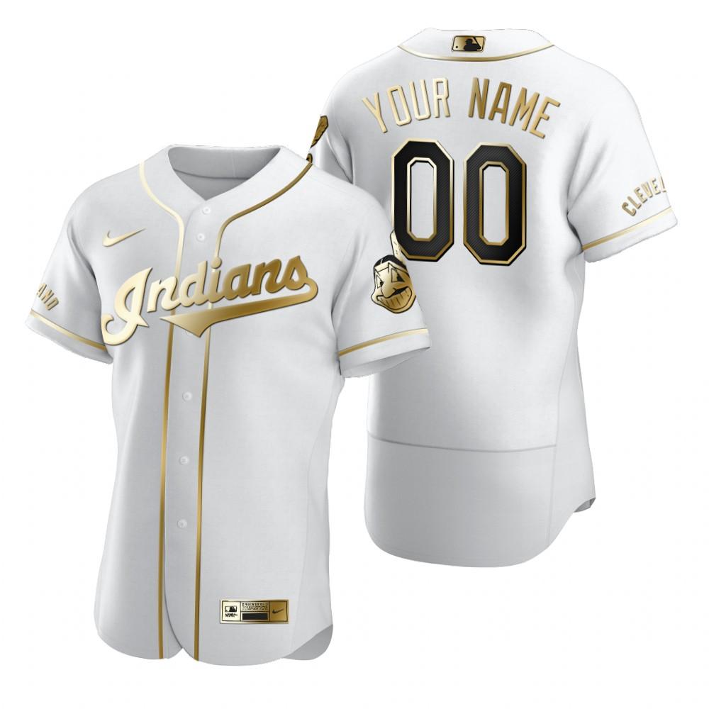 Men's Cleveland Indians Custom Nike White Stitched MLB Flex Base Golden Edition Jersey
