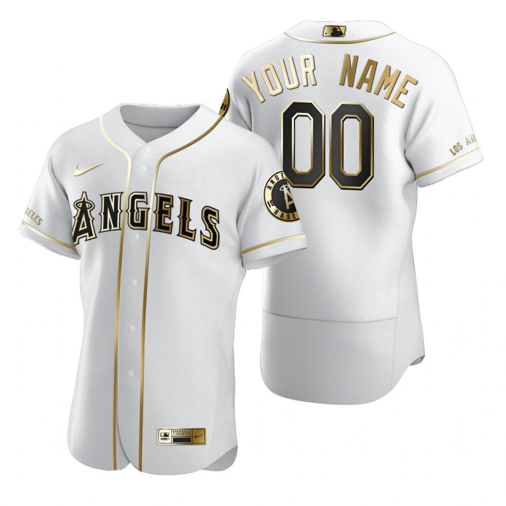 Men's Los Angeles Angels Custom Nike White Stitched MLB Flex Base Golden Edition Jersey