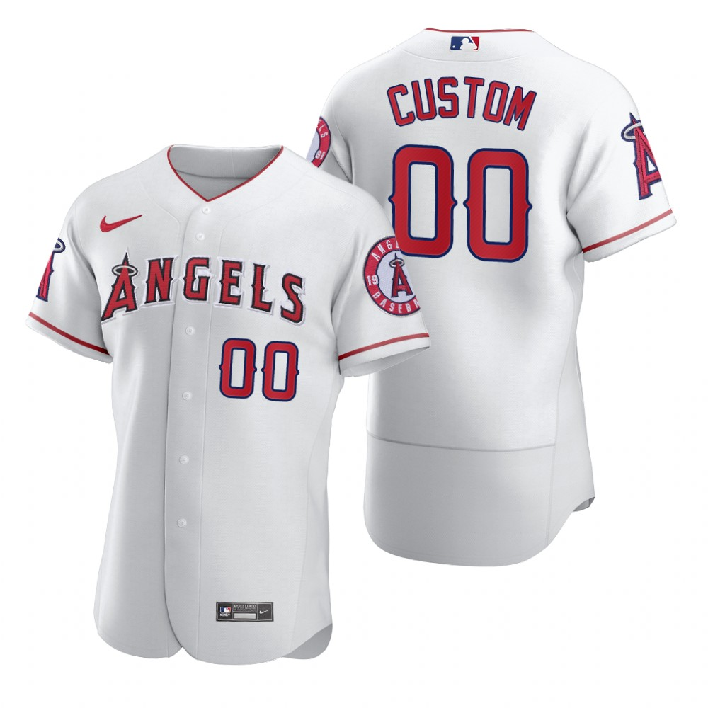 Men's Los Angeles Angels Custom Nike White 2020 Stitched MLB Flex Base Jersey