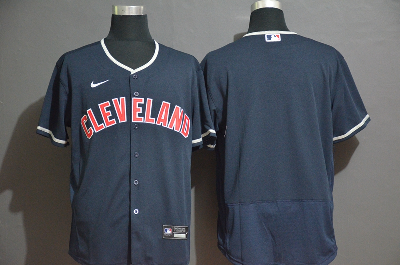 Men's Cleveland Indians Blank Navy Blue Stitched MLB Flex Base Nike Jersey