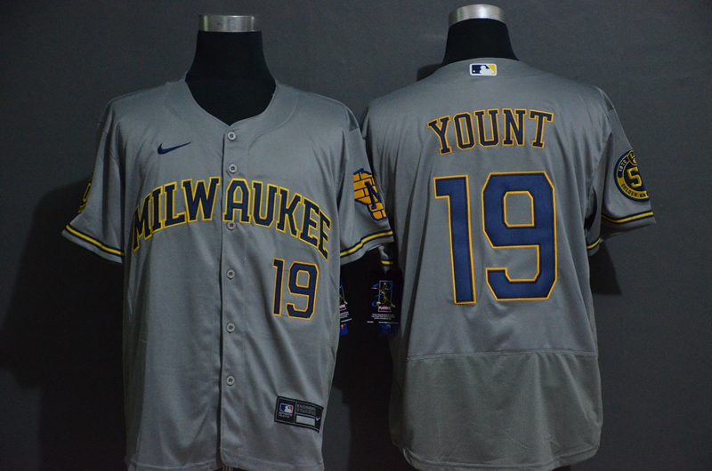 Men's Milwaukee Brewers #19 Robin Yount Grey Stitched MLB Flex Base Nike Jersey