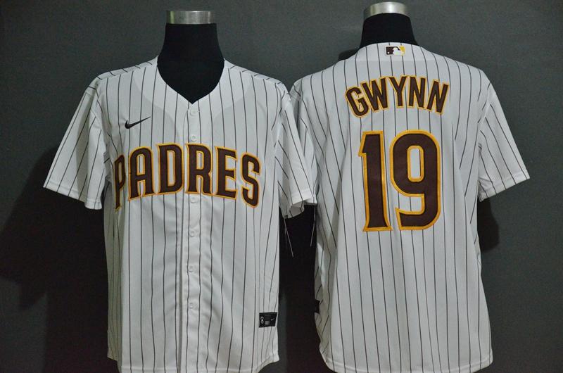Men's San Diego Padres #19 Tony Gwynn White Stitched MLB Cool Base Nike Jersey