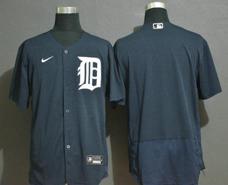 Men's Detroit Tigers Blank Navy Blue Stitched MLB Flex Base Nike Jersey