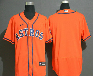 Men's Houston Astros Blank Orange Stitched MLB Flex Base Nike Jersey