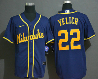 Men's Milwaukee Brewers #22 Christian Yelich Light Blue Stitched MLB Cool Base Nike Jersey