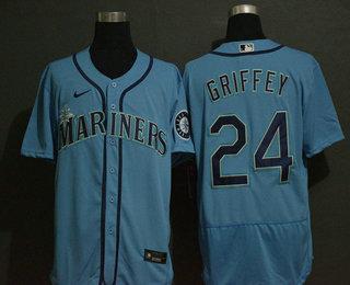 Men's Seattle Mariners #24 Ken Griffey Jr. Blue Stitched MLB Flex Base Nike Jersey