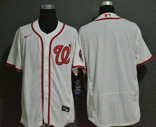 Men's Washington Nationals Blank White Stitched MLB Flex Base Nike Jersey