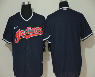 Men's Cleveland Indians Blank Navy Blue Stitched MLB Cool Base Nike Jersey