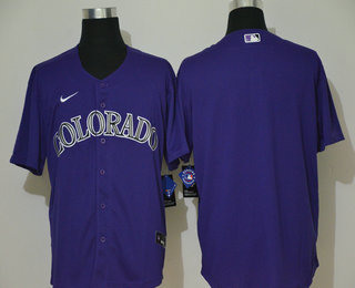 Men's Colorado Rockies Blank Purple Stitched MLB Cool Base Nike Jersey