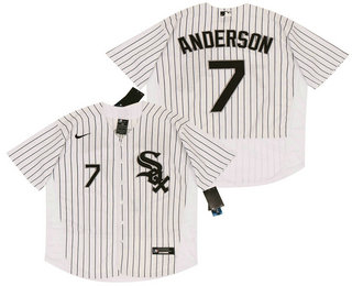 Men's Chicago White Sox #7 Tim Anderson White Pinstripe Stitched MLB Flex Base Nike Jersey