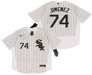Men's Chicago White Sox #74 Eloy Jimenez White Pinstripe Stitched MLB Flex Base Nike Jersey