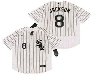 Men's Chicago White Sox #8 Bo Jackson White Pinstripe Stitched MLB Flex Base Nike Jersey